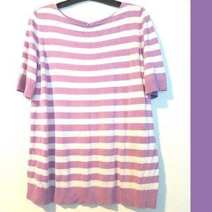 1X Talbots Violet & White Short Sleeve Sweater